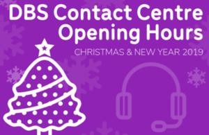 Purple Graphic with a Christmas Tree and a Contact Centre Headset