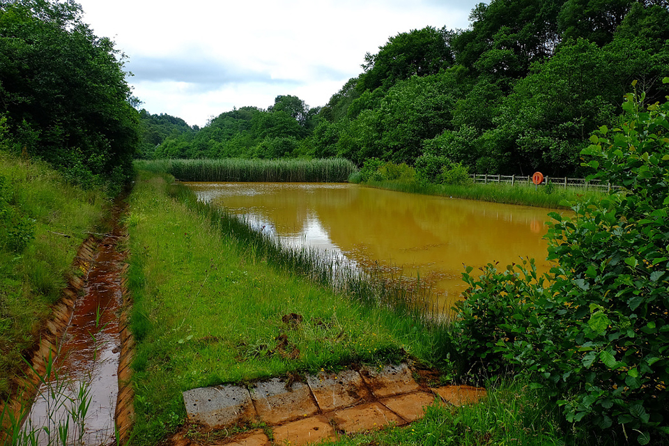 One of the settlement ponds at the Coal Authority's Taff Merthyr mine water treatment scheme.