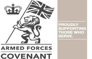 Armed Forces Covenant report logo with the crest and slogan on the left hand side.