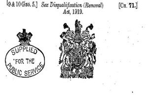 Sex Disqualification Removal Act 1919