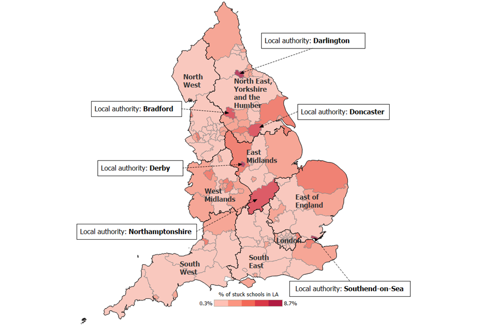This map shows stuck schools as a percentage of all schools in the LA. The 6 LAs with the highest percentage of schools that are stuck are Derby, Southend-on-Sea, Darlington, Bradford, Doncaster and Northamptonshire.