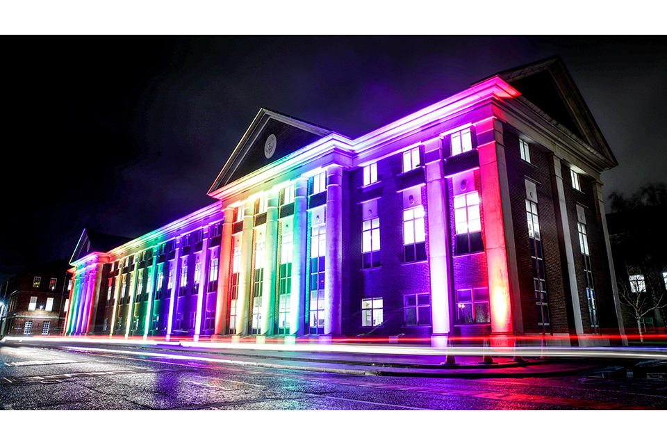 Royal Navy Headquarters lit in rainbow colours