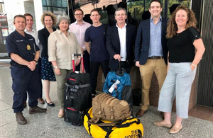 A group of responders sent from the UK before they go to combat bushfires, standing with British High Commissioner to Australia, Vicki Treadell , and other High Commission staff