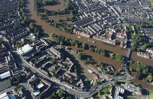 An aerial image of York during the winter 2015 floods