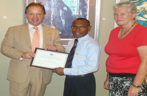 Minister Hugo Swire, Henry Norrie Maim and British High Commissioner Jackie Barson