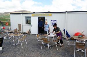 Sal Millar, café operator Sam Burns, outside Silecroft Beach Café.