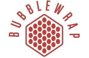 Bubblewrap wording with red emblem in a honeycomb design