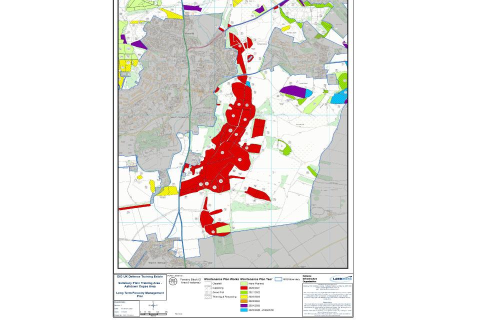 A map of Salisbury plain training area showing locations of Ash dieback Ashdown Copse.