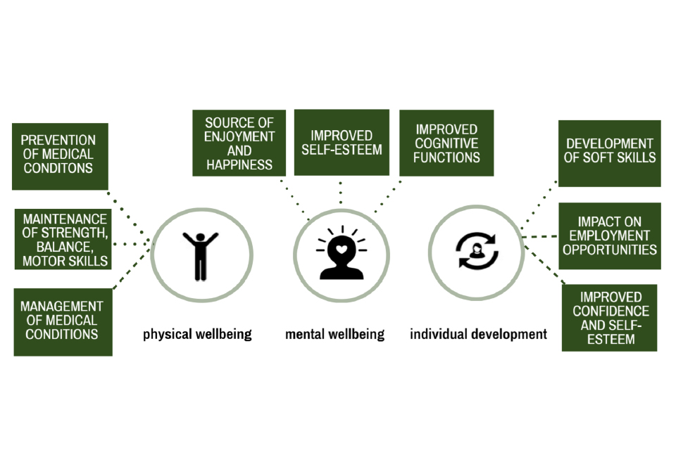 The wider physical wellbeing, mental wellbeing and individual development benefits of physical activity
