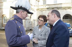 Major-General Commanding the Household Division Chris Ghika CBE speaks to German Defence Minister Kramp-Karrenbauer and Defence Secretary Ben Wallace