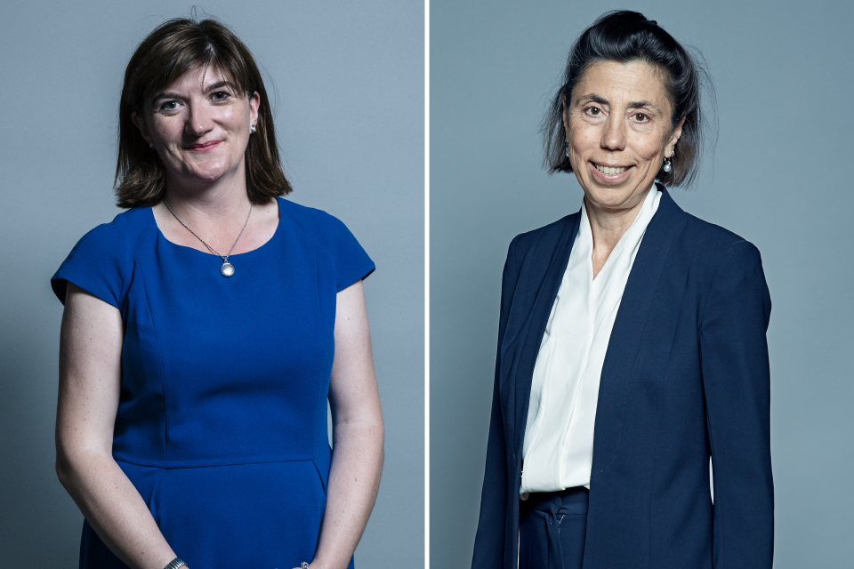 The Right Honourable Nicky Morgan and Baroness Diana Barran MBE