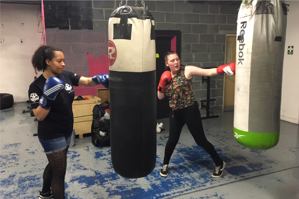 Photo of Saffron and Chloe boxing with Boxing Futures