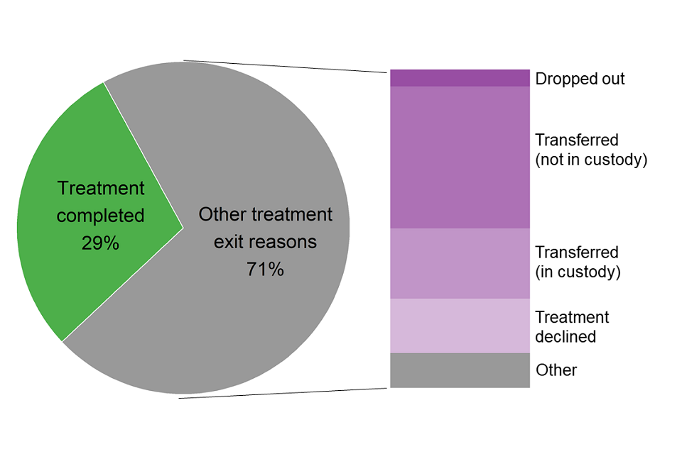 Chart showing proportions and different reasons for young people leaving treatment