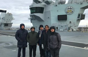 Chevening scholars on aircraft carrier, HMS Prince of Wales