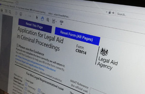 Image showing top of lectronic form to apply for legal aid representation order