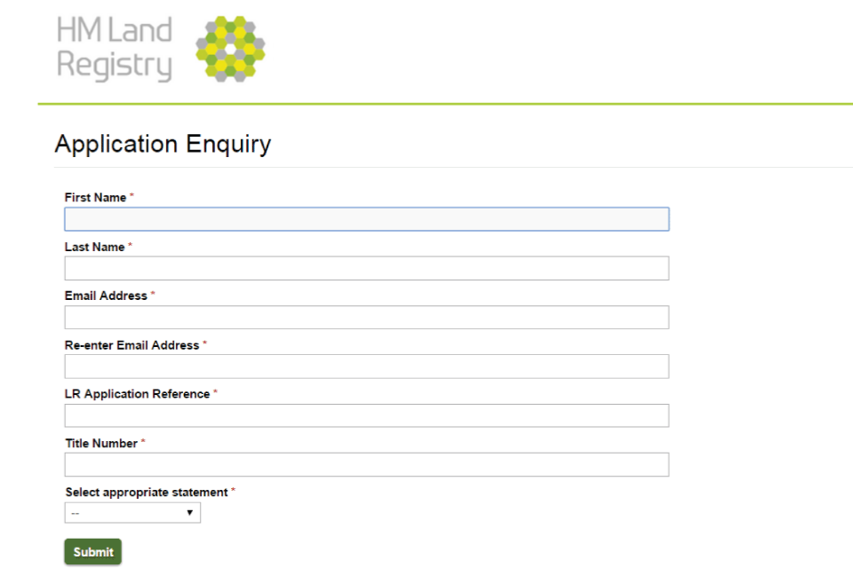 Application Enquiry online contact form