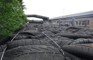 The Environment Agency found more than 1,300 tonnes of tyres being stored.