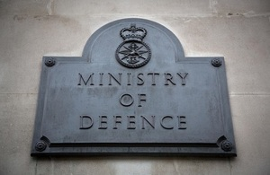 Image depicts the sign on the Ministry of Defence Head Office