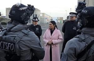 Priti Patel talks to counter-terrorism officers