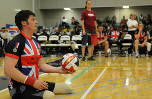 Capt Dave Henson of the UK Team participates in a sitting volleyball game during the 2012 Warrior Games in Colorado Springs, CO