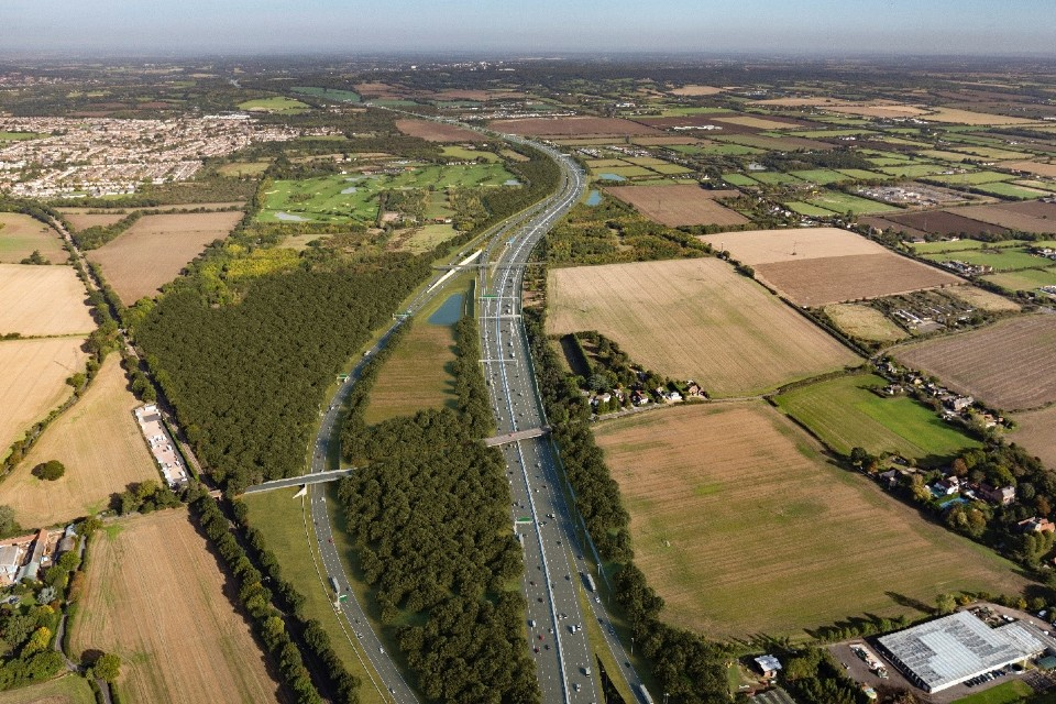 The Lower Thames Crossing junction with the M25 (looking north), with a new bridge for Ockendon Road