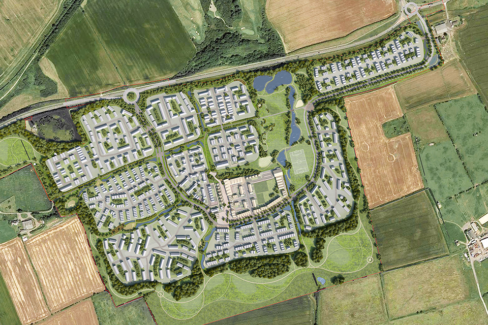 Artist's impression of the Seaham Garden Village development, County Durham, UK