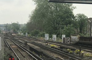 Photograph showing trackwork looking south west of Balham station