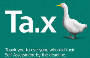Image of duck with caption: 'Tax.x - thank you to everyone who did their Self Assessment by the deadline