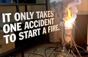 Campaign image with caption: It only takes 1 accident to start a fire