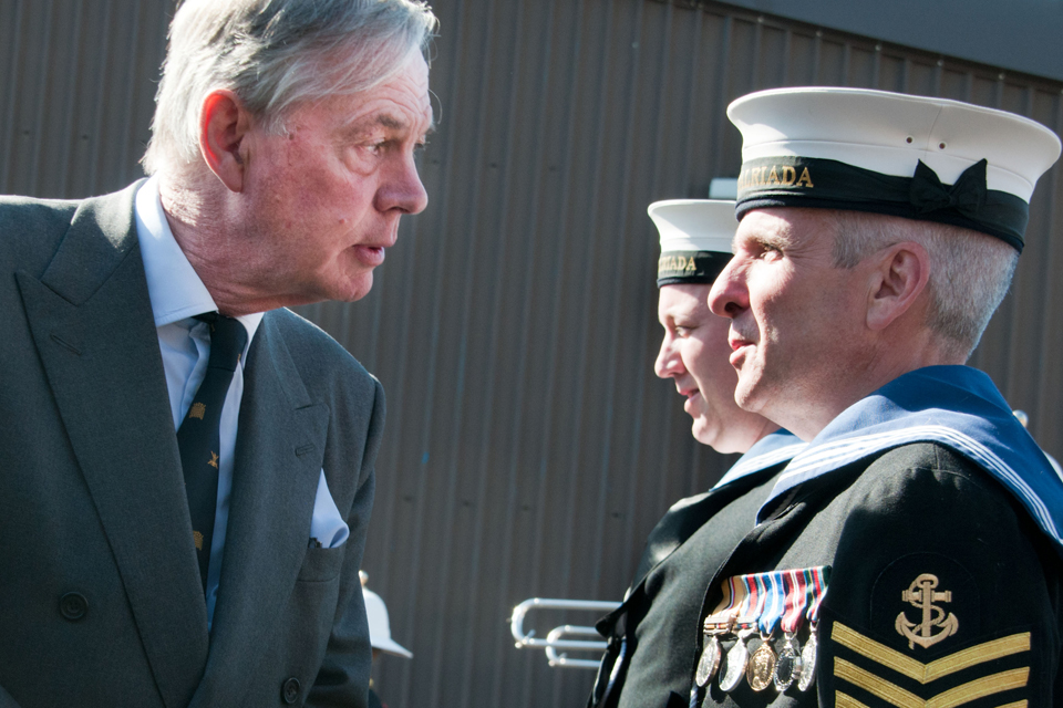 Lord Astor speaking to Leading Seaman (Logistician) Paul Ellis