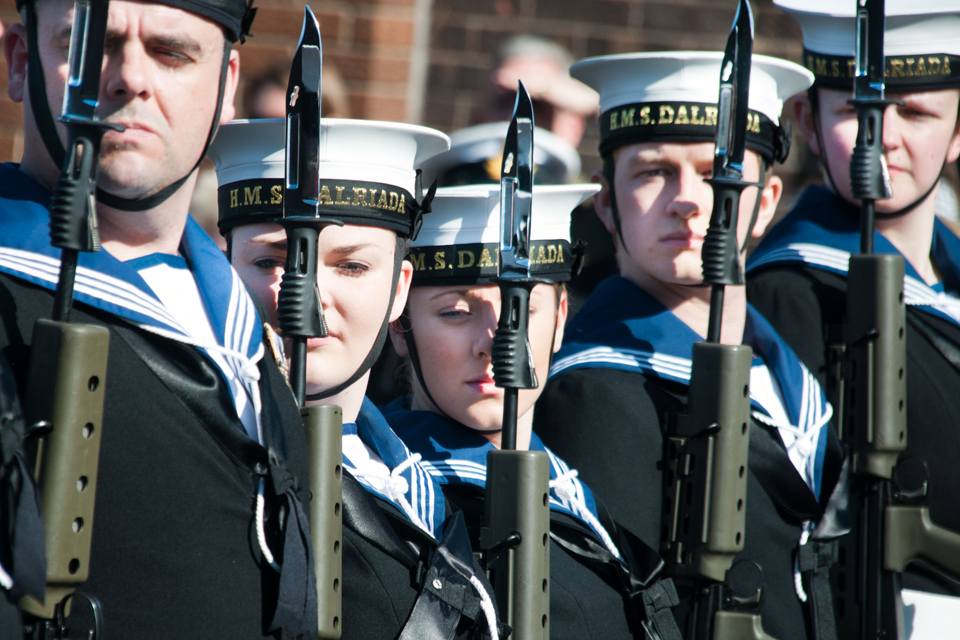 Members of the Royal Naval Reserve on parade at HMS Dalriada