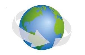 Globe with arrow