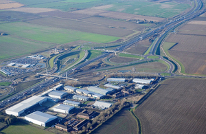 Image showing the new Swavesey junction with its landmark pedestrian and cycle bridge