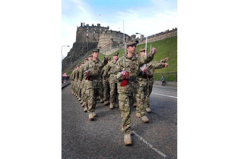 Soldiers march past Edinburgh Castle