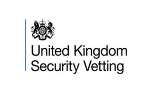 United Kingdom Security Vetting logo, emblem and the organisation name below.