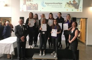 LLWR apprentices on stage displaying certificates after winning the Gen2 Entrepreneurial Challenge.
