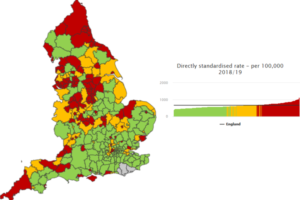 Figure 6: Admissions for alcohol-related conditions (Narrow), district and unitary authorities, 2018/19