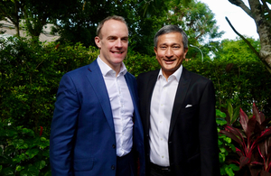 Foreign Secretary, Dominic Raab standing next to Foreign Minister Dr Vivian Balakrishnan