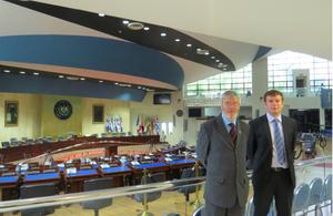 "Gavin Short and Stacy Bragger visiting the ""Salón Azul"" of the Legislative Assembly in San Salvador"