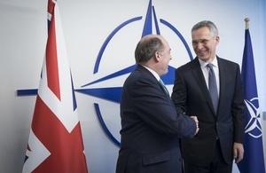 Defence Secretary Ben Wallace (l) and NATO Secretary General Jens Stoltenberg (r) meet at NATO HQ