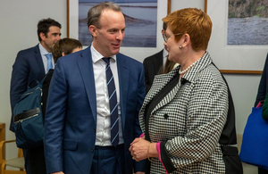 Foreign Secretary Dominic Raab speaking with Australian Foreign Minister Marise Payne.