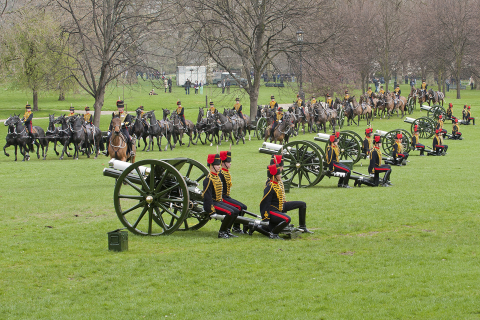 The 6 King's Troop Royal Horse Artillery 13-pounder guns