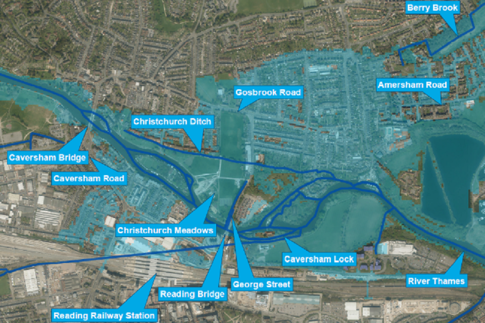 The blue shaded area on the map shows the area currently at risk from a major flood.