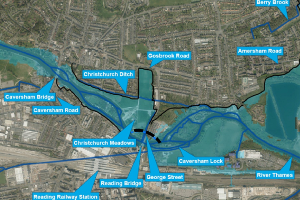 This shows the same area if the scheme goes ahead. The black lines are where proposed flood walls, embankments and other measures could be built.