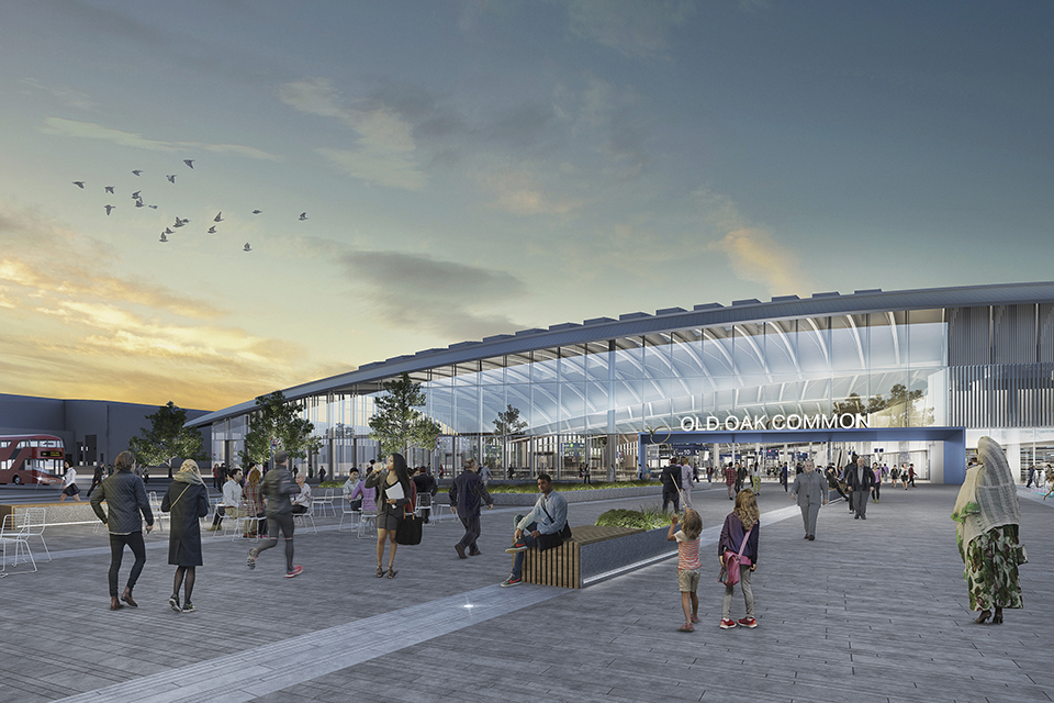 CGI showing external view of Old Oak Common station