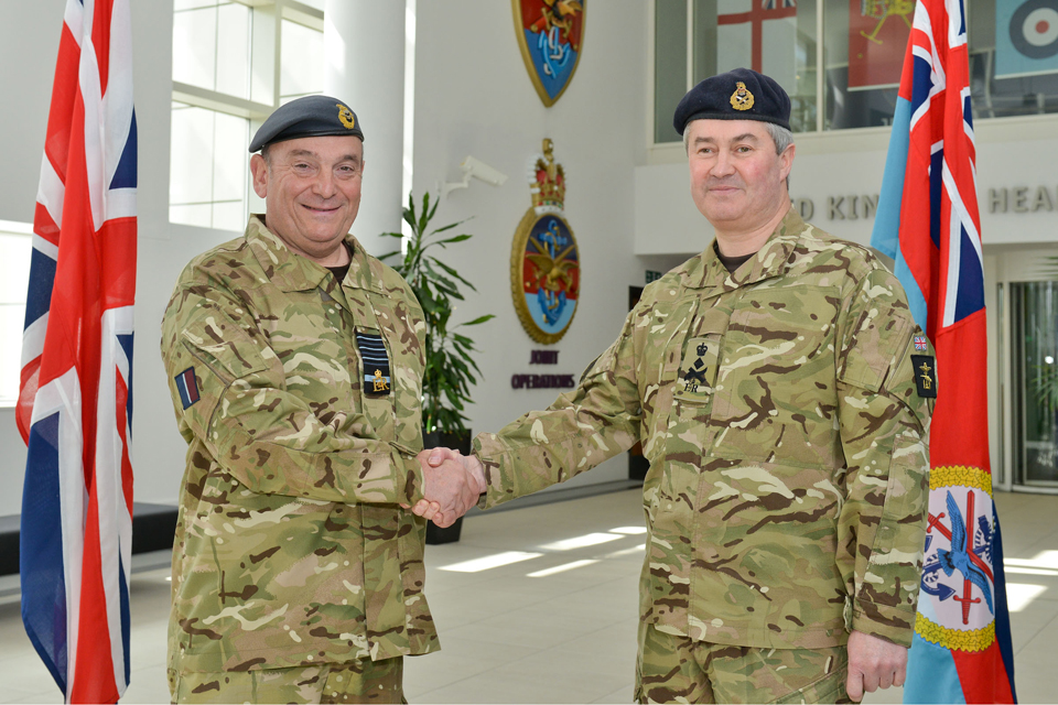 Air Chief Marshal Sir Stuart Peach (left) hands over command of Joint Forces Command to General Richard Barrons