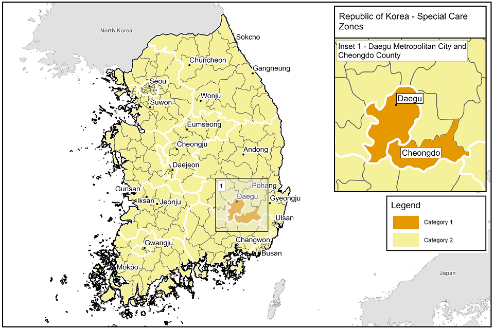 Map of specified areas in Republoic of Korea