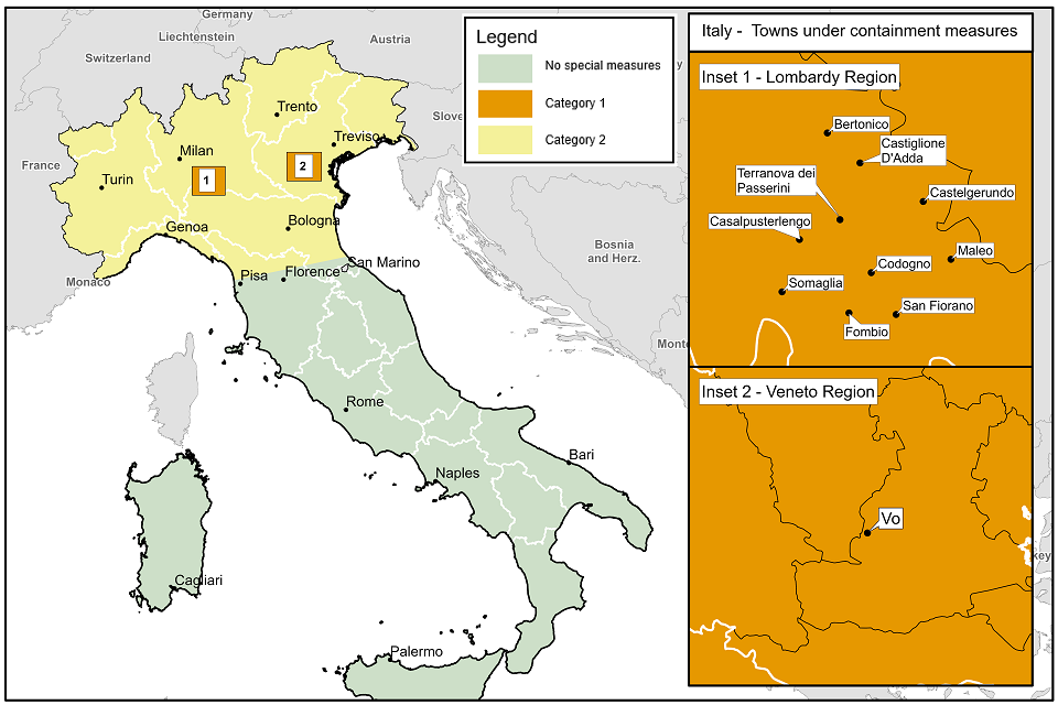 Map of specified areas in Italy