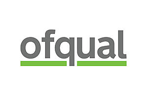 The word Ofqual written in grey lower case letters above a green line.