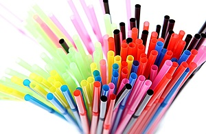 A picture of various multi-coloured plastic straws